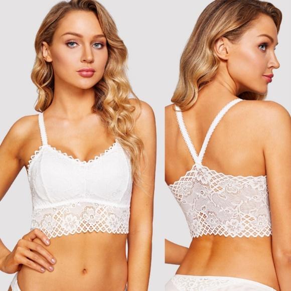 8201e46248 White floral lace long line bralette